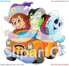 cartoon of a halloween witch vampire and ghost riding in a pickup