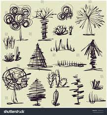 art set 10 sketching vector trees stock vector 110262914