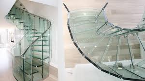 helical staircase glass railing steps without risers fly design