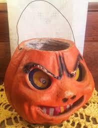 all original vintage halloween paper mache pulp jack o u0027 lantern