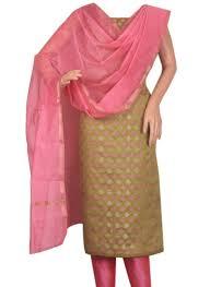 buy olive green and pink combination spun cotton silk salwar suit