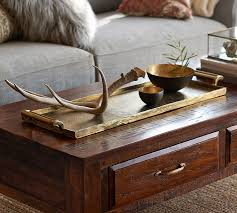 Gold Coffee Table Tray by Long Gold Metal Tray Pottery Barn