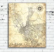 el paso tx canvas print texas tx vintage map el paso city