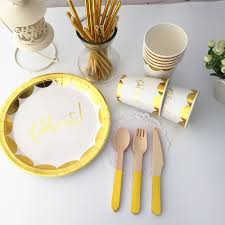 aliexpress buy 40 sets foil gold celebrate tableware