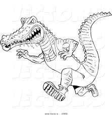 vector of a drooling cartoon alligator running fast coloring