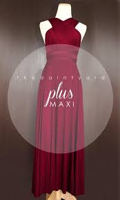 maxi plus size wine red bridesmaid dress convertible dress