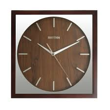 Silent Wall Clock Rhythm Square Wooden Silent Wall Clock
