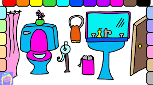 learn how to draw and color a bathroom easy drawing and coloring
