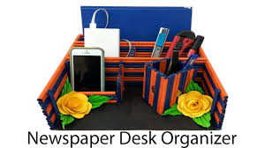 make a newspaper desk organizer mobile holder pen holder