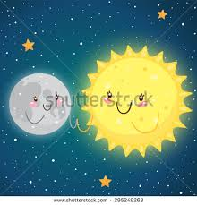 cosmic friendship moon sun vector stock vector 295249268