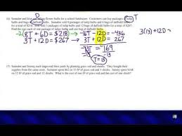 algebra word problems systems of equations youtube