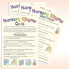 baby shower game nursery rhyme quiz 10 guest pack amazon co