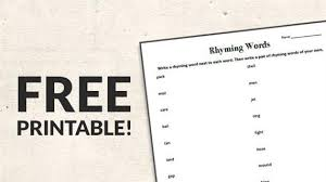 printable rhyming words free printable rhyming words worksheet weareteachers