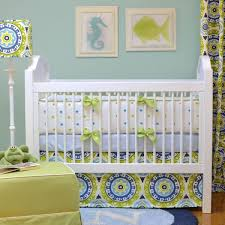 del sol green and blue crib bedding set by doodlefish