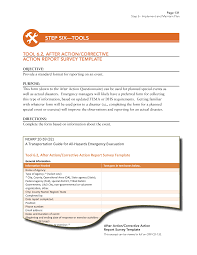 debriefing report template step 6 implement and maintain plan a transportation guide for page 126