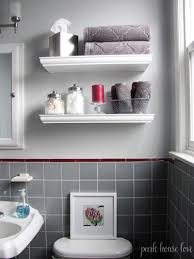 Small Bathroom Wall Shelves Floating Shelves For Small Bathroom With Gray Tile White Walls And