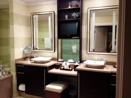 furniture gorgeous dark wood makeup vanity in master bathroom