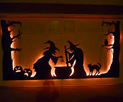 Glow In The Dark Halloween Window Decorations by Halloween Garage Door Silhouette 6 Steps With Pictures