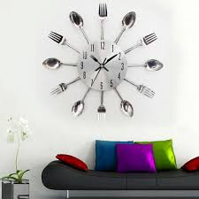 designer kitchen wall clocks full image for compact designer good new modern kitchen wall clock sliver cutlery clocks spoon fork creative wall stickers mechanism design
