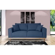 canap fixe 2 places tissu canapé 2 places fixe pieds bois en tissu bleu nuit stanley