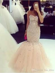 champagne colour prom dress mermaid crystals beaded