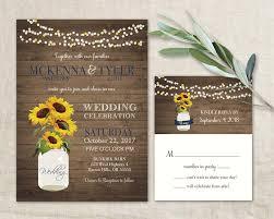 sunflower wedding invitation set rustic sunflower wedding