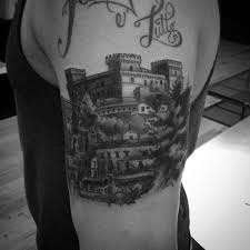 80 castle tattoos for masculine fortress designs