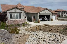 rocks neutral cream house small front yard landscaping ideas with