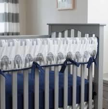 navy and gray elephants crib rail cover carousel designs