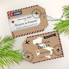 luggage tag save the date airmail luggage tag save the date on kraft paper