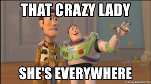 Crazy Lady Meme - that crazy lady she s everywhere x x everywhere meme generator