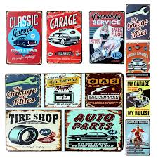 tin home decor wall stickers 20 30cm poster home decor my classic garage my rules