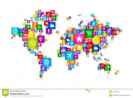 World Cloud Map by World Map Flying Desktop Icons Collection Stock Illustration