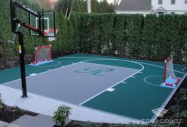 Build A Basketball Court In Backyard Onelawn Backyard Multi Game Court Installations