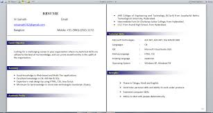 Sample Resume Format For Bcom Freshers by Sample Resume For Freshers Net Templates
