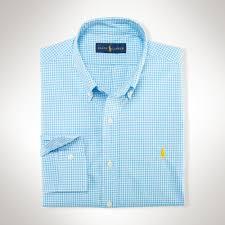 ralph lauren light blue lyst polo ralph lauren slim fit gingham sport shirt in blue for men