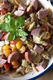 caprese pasta salad with sausage