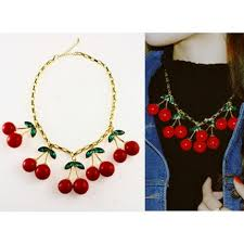 charm necklace wholesale images Cute statement five cherry charm necklace wholesale yiwuproducts jpg