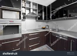 small modern kitchen wenge colors stock photo 75779581