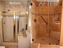 bathroom remodels make big splash this spring renovate paint custom installed shower replaces white gold outdated tile and trim glass