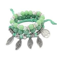 european beads bracelet images European vintage three layer metal charm tree feather glass beads jpg