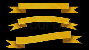 black and yellow ribbon 3 yellow ribbon banners for your text on black background stock