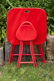 Folding Table With Handle Folding Stool With Handle 4 Pack Red