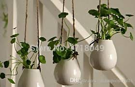 white egg shaped ceramic wall hanging pots indoor planter