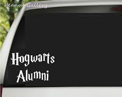 hogwarts alumni bumper sticker wizard decal etsy