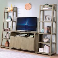 Leaning Bookcases Entertainment Wall Unit With Console And Leaning Bookcases By