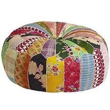 indian vintage kantha patch work moroccan pouf ottoman size 24 x 8