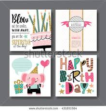 photo greeting cards set birthday greeting cards design stock vector 552436606