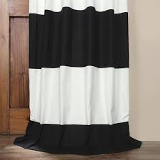 black and off white 50 x 96 inch horizontal stripe curtain half