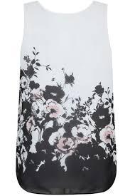 black white peach floral print jersey cigarette trousers plus